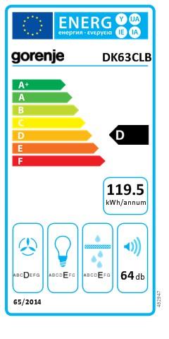 Energetický štítek Gorenje DK 63 CLB