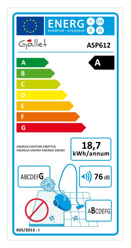 Energetický štítek Gallet ASP 612 Evreux, 2 v 1