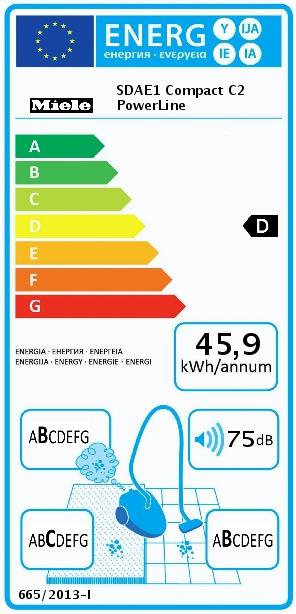 Energetický štítek Miele Compact C2 PowerLine