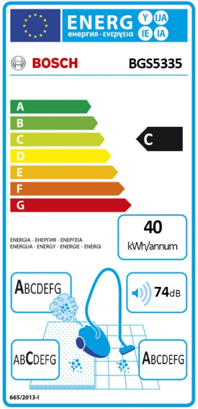 Energetický štítek Bosch BGS5335 Zoo'o ProAnimal