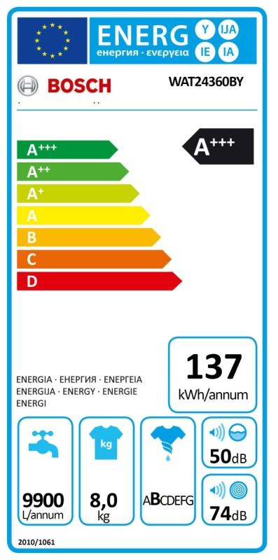 Energetický štítek Bosch WAT24360BY