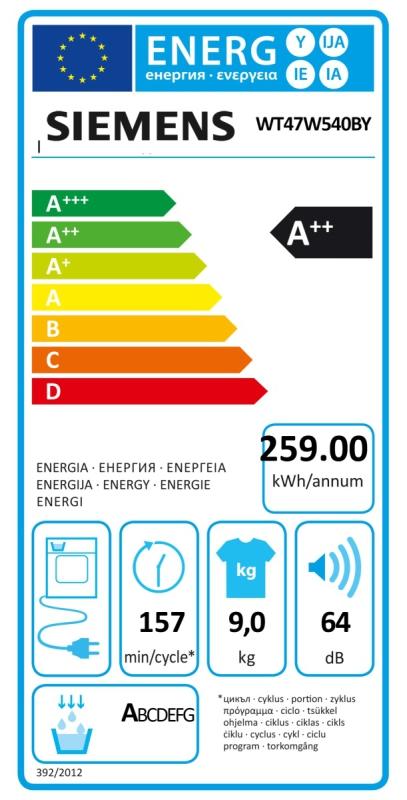 Energetický štítek Siemens WT47W540BY kondenzační