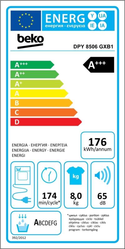 Energetický štítek BEKO DPY 8506 GXB1 kondenzační