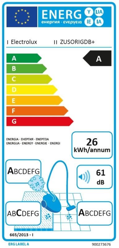 Energetický štítek Electrolux ZUSORIGDB+ Ultra Silencer