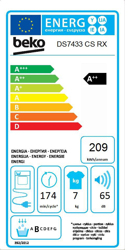 Energetický štítek BEKO DS 7433 CS RX kondenzační
