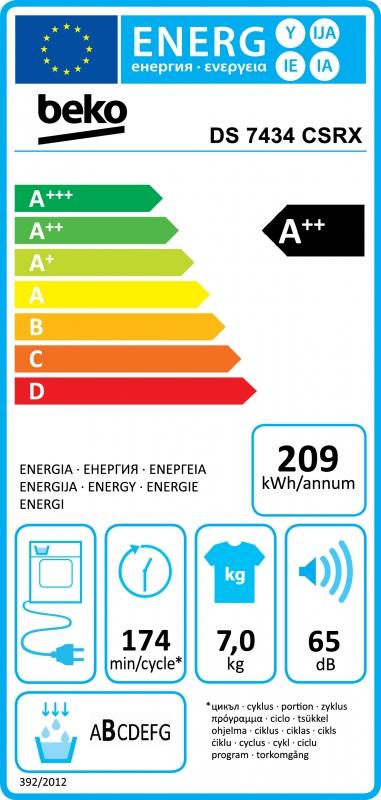 Energetický štítek BEKO DS 7434 CS RX kondenzační