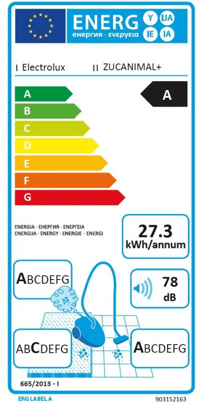 Energetický štítek Electrolux ZUCANIMAL+ ULTRACAPTIC