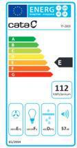 Energetický štítek CATA TF 2003 Bílé sklo Výsuvná 600