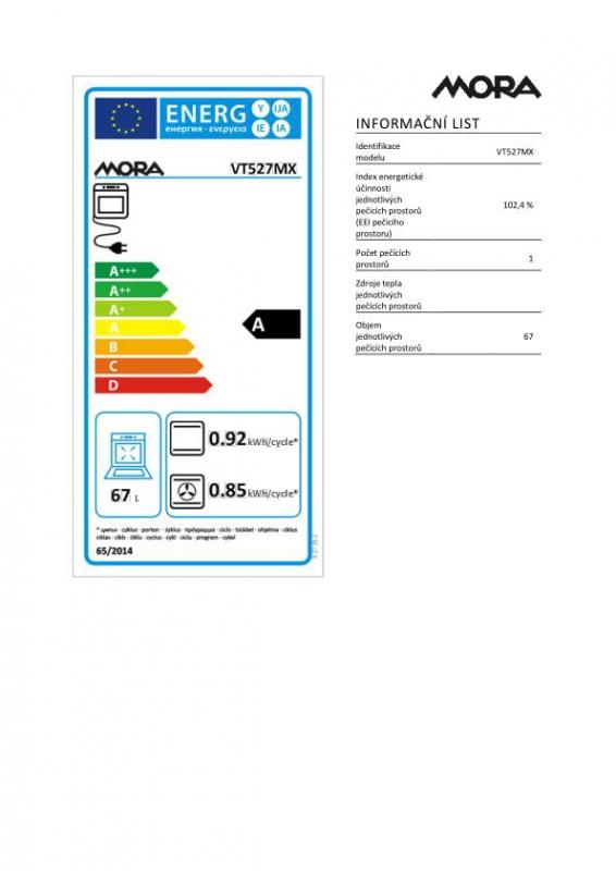 Energetický štítek Mora VT 527 MX