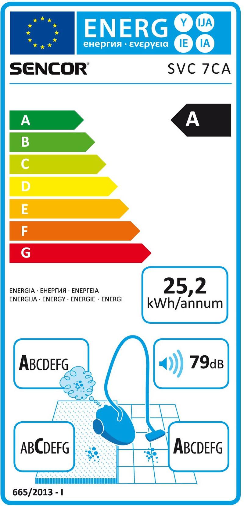 Energetický štítek Sencor SVC 7CA-EUE2