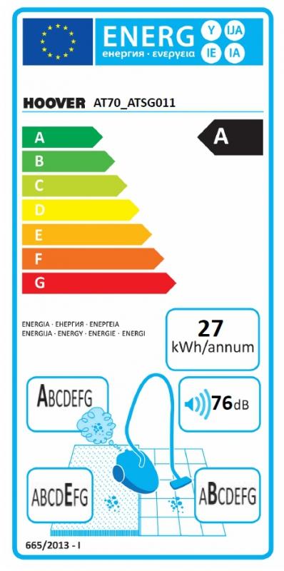 Energetický štítek Hoover AT70_ATSG011 + ruční parní čistič Steam Jet Handy SSNHB 1300
