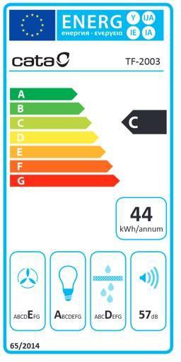 Energetický štítek CATA TF 2003 DurAlum Bezotisk Nerez Výsuvná 700