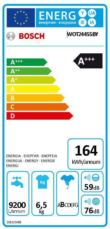 Energetický štítek Bosch WOT24455BY Serie 6