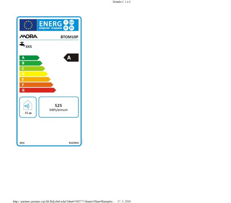 Energetický štítek Mora BTOM 10 P