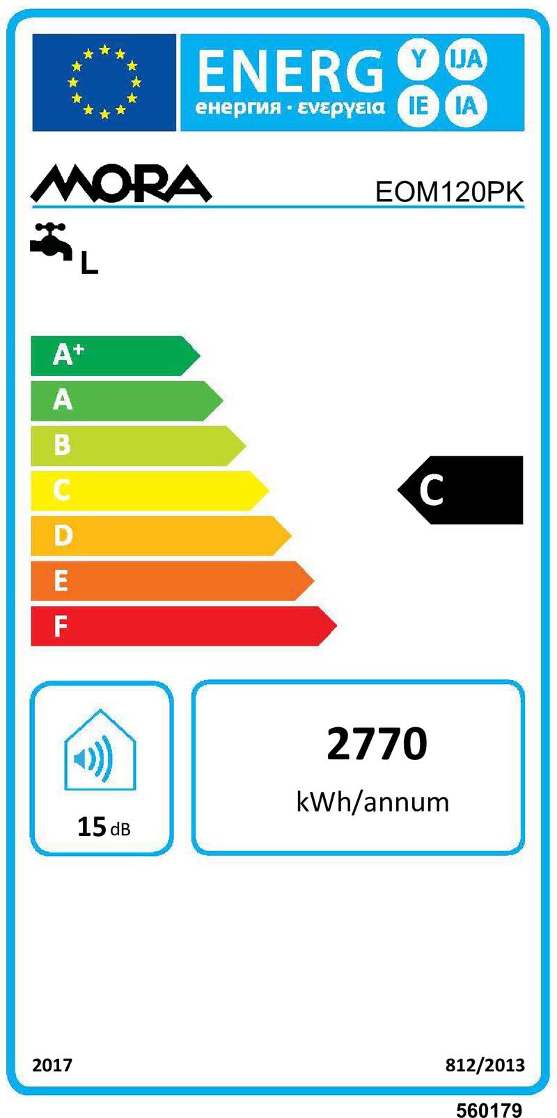 Energetický štítek Mora elektrický EOM 120 PK