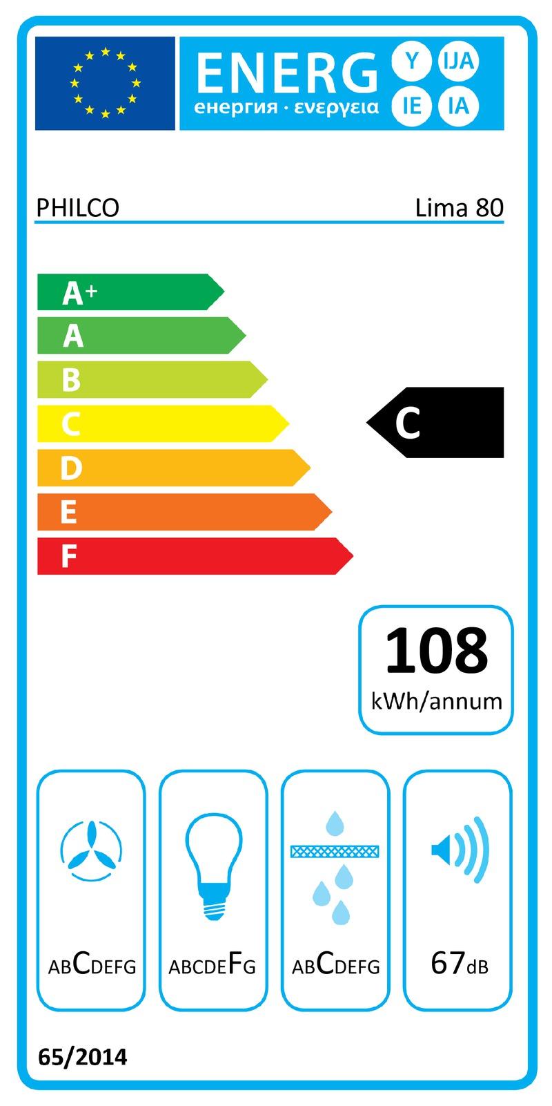 Energetický štítek Philco Lima 80