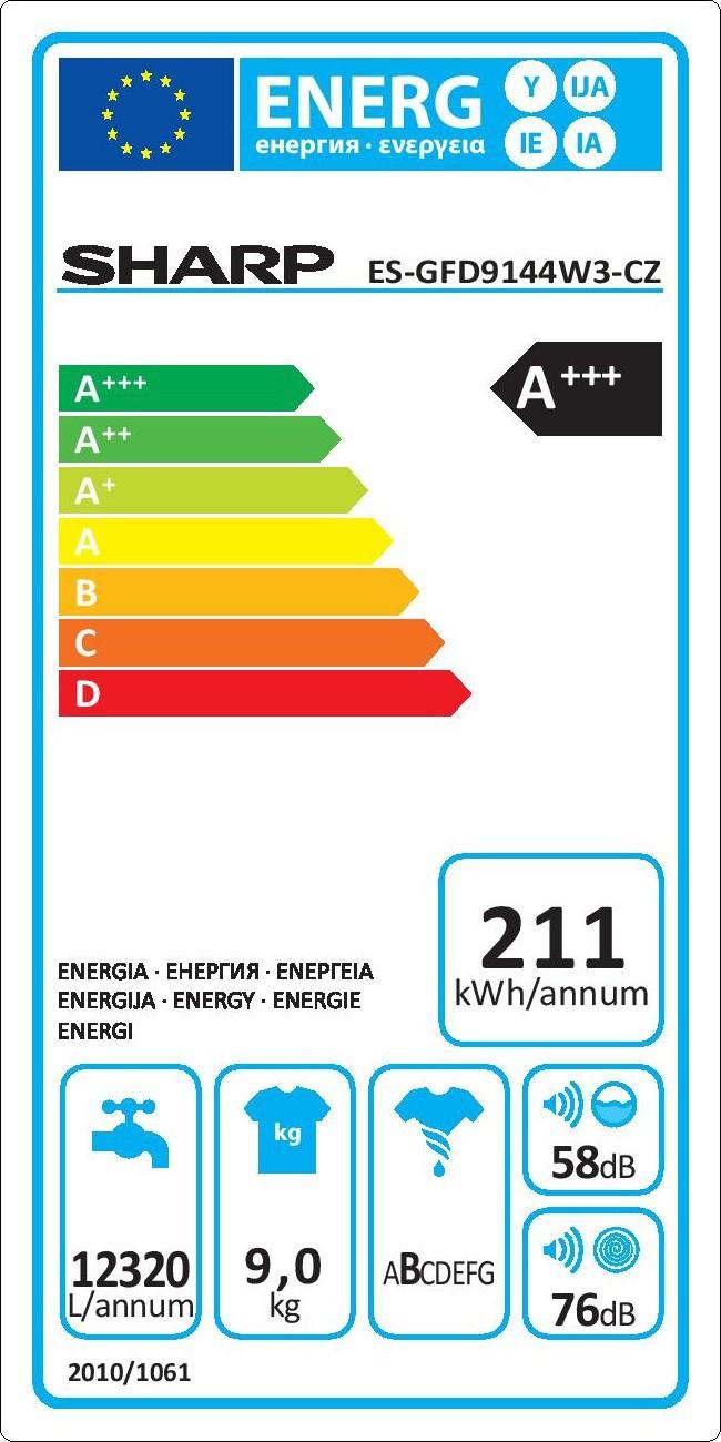 Energetický štítek Sharp ES GFD9144W3-CZ