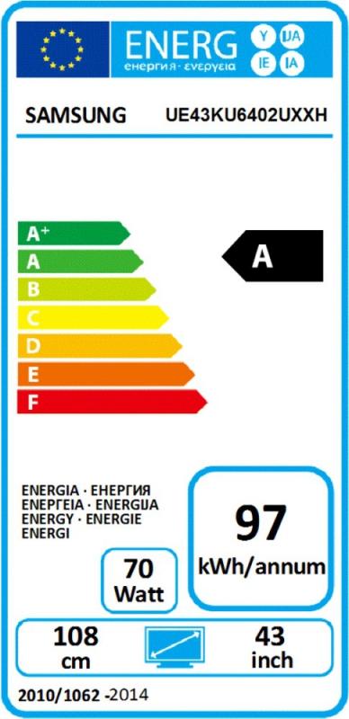 Energetický štítek Samsung UE43KU6402
