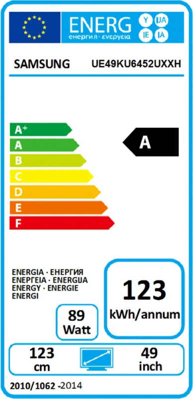 Energetický štítek Samsung UE49KU6452