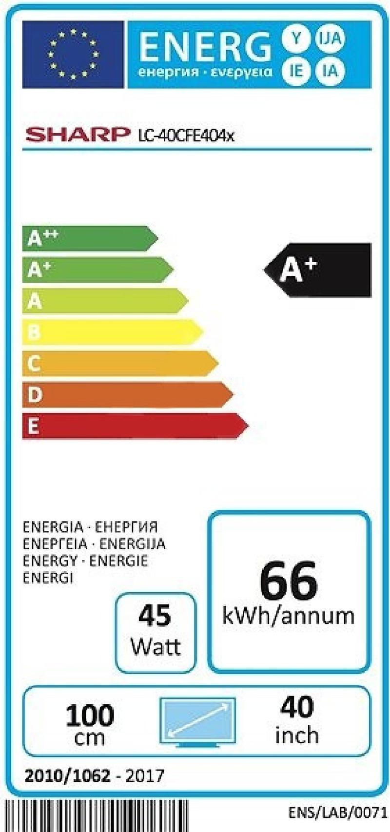 Energetický štítek Sharp LC 40CFE4042