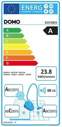 Energetický štítek DOMO DO7285S SILENCE-PARKETT-HEPA