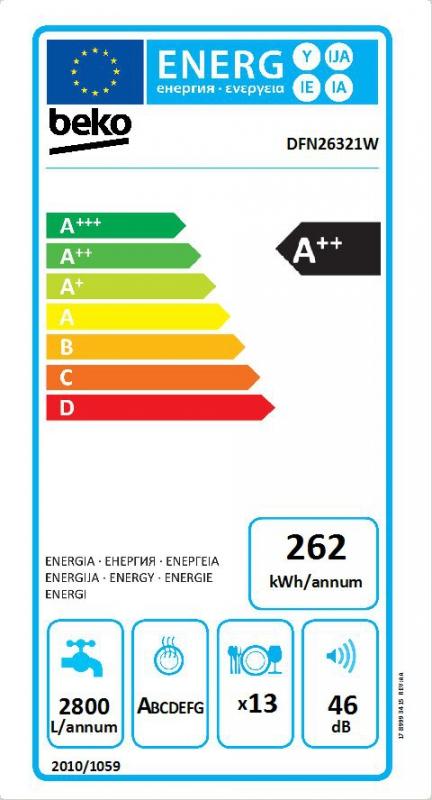 Energetický štítek BEKO DFN 26321 W