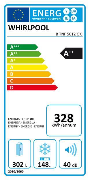 Energetický štítek Whirlpool B TNF 5012 OX, NoFrost