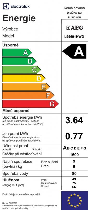 Energetický štítek AEG Lavamat L99691HWD