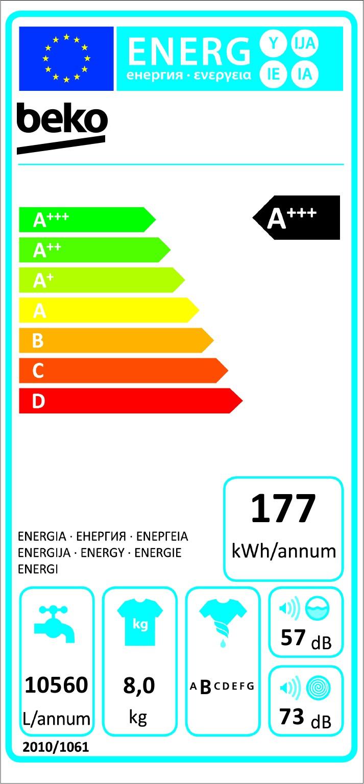 Energetický štítek Beko WTV 8634 XS0