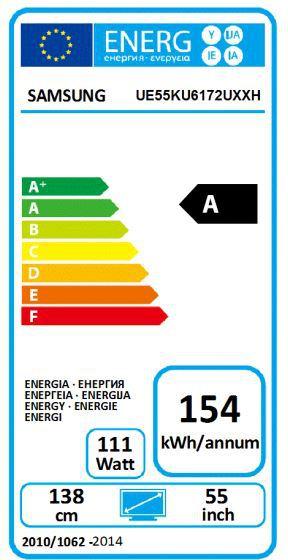 Energetický štítek Samsung UE55KU6172