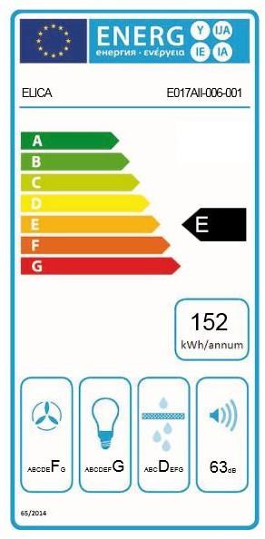 Energetický štítek ELICA ELIBLOC 3 SILVER F/80