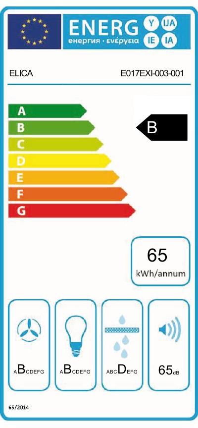 Energetický štítek Elica HIDDEN IX/A/ 60