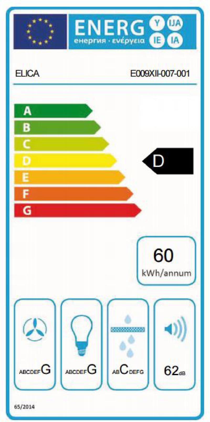 Energetický štítek ELICA VERVE IX/F/50