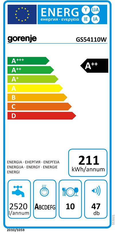 Energetický štítek Gorenje GS54110W