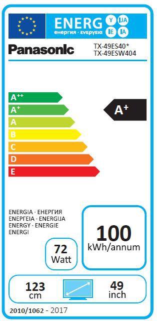 Energetický štítek Panasonic TX-49ES403E, Smart