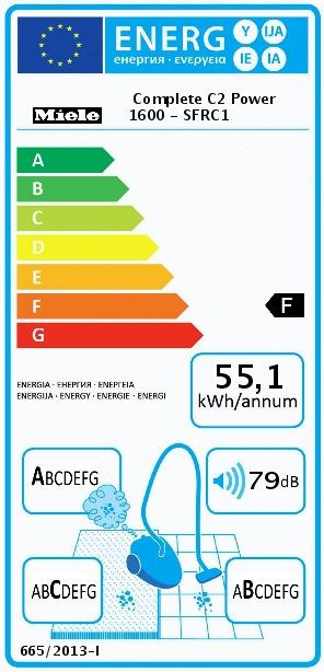 Energetický štítek Miele Complete C2 PowerLine 1600W