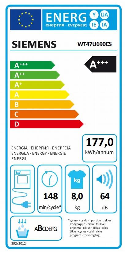Energetický štítek Siemens WT47U690CS