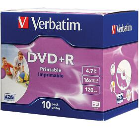 Verbatim DVD+R 4,7GB, 16x, Printable, jewel box, 10ks