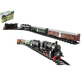 Vlak +3 vagóny skolejemi 24ks plast nabaterie sesvětlem sezvukem vkrabici 59x39x6cm