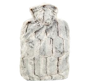 Termofor Hugo Frosch Classic sobalem zumělé kožešiny –hnědo/stříbrný spodšívkou