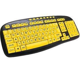 C-TECH KB-103MS, kontrastní, černo-žlutá, multimediální, USB, CZ/SK