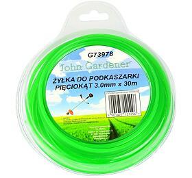 Struna do sekačky zelená zesílená, 3,0mm, 30m, hvězdicový profil, nylon, GEKO