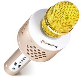 Technaxx PRO bluetooth karaoke mikrofon, 2x3W repro, LED RGB a funkcí TWS, zlatá/stříbrná