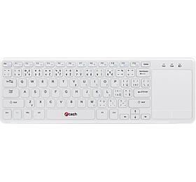 C-TECH WLTK-01, bezdrátová klávesnice s touchpadem, bílá, USB
