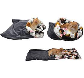 Marysa pelíšek 3v1 pro kočky, šedý/kočky, velikost XL