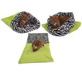 Marysa pelíšek 3v1 pro kočky, světle zelený/zebra, velikost XL