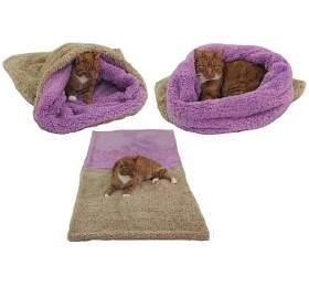 Marysa pelíšek 3v1 pro kočky, DELUXE, béžový/fialový, velikost XL