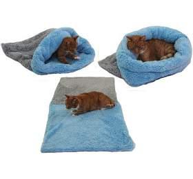 Marysa pelíšek 3v1 pro kočky, DELUXE, šedý/světle modrý, velikost XL