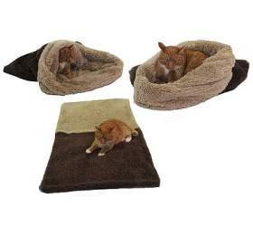 Marysa pelíšek 3v1 pro kočky, DELUXE, tmavě hnědý/béžový, velikost XL