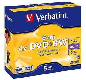 Verbatim DVD+RW 1,4 GB, 4x, 8cm jewel box, 5ks
